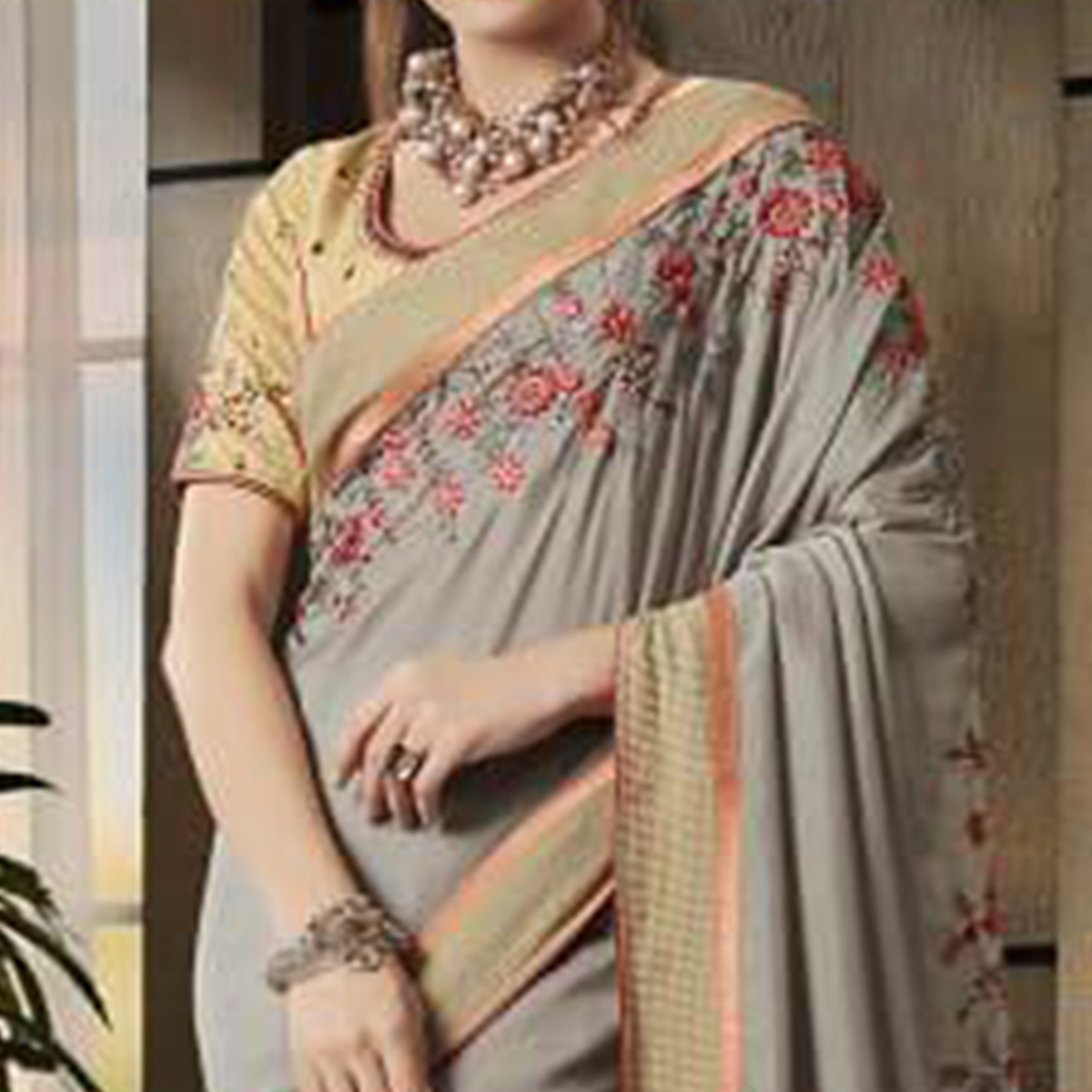 Intricate Gray Colored Partywear Embroidered Art Silk Saree