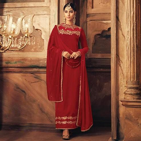 Prominent Maroon Colored Party Wear Embroidered Velvet Suit