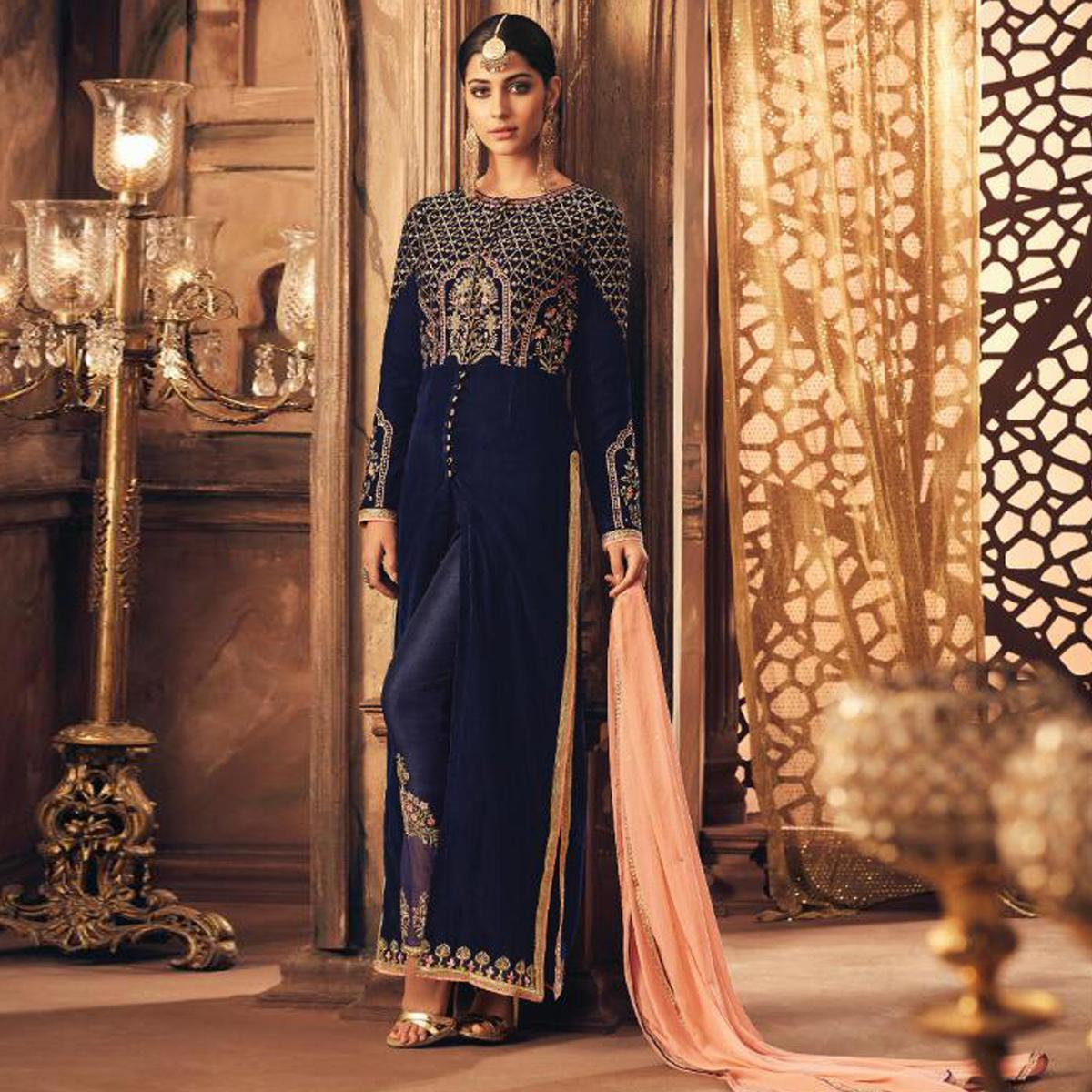 Adorning Navy Blue Colored Party Wear Embroidered Velvet Suit
