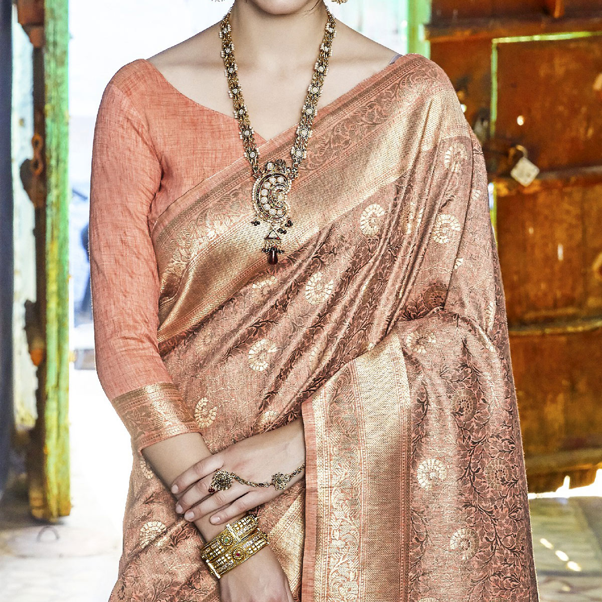 Amazing Peach Colored Festive Wear Woven Silk Saree