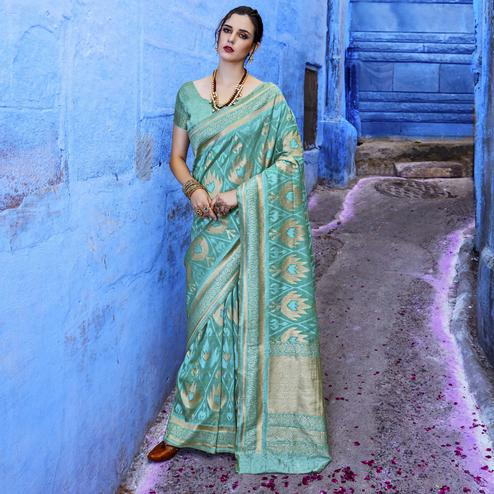 Exotic Blue Colored Festive Wear Woven Silk Saree