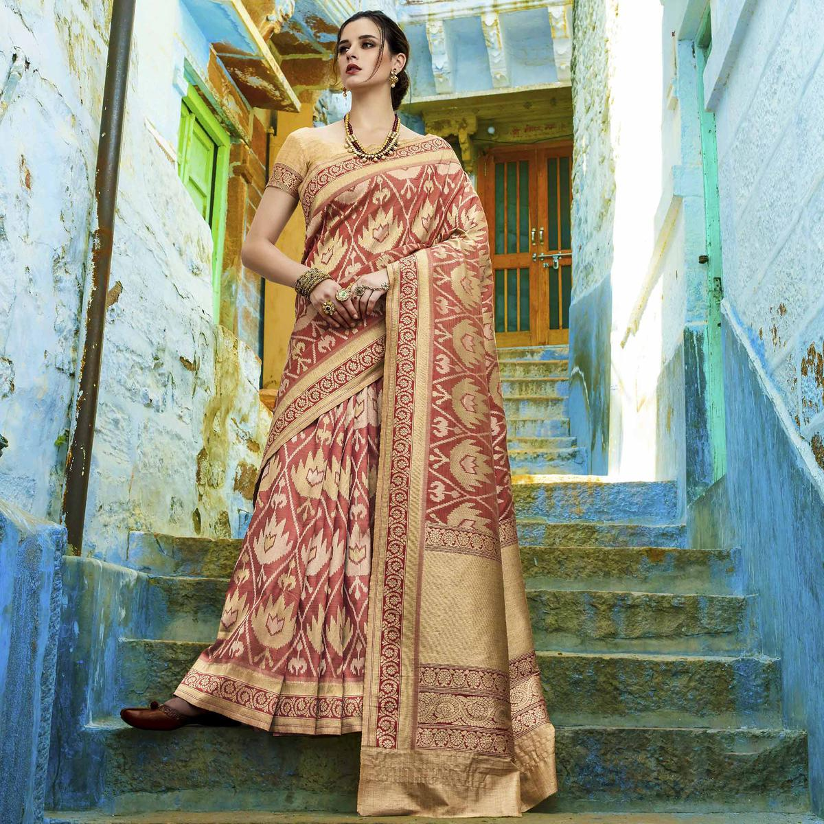 Majesty Rust Red Colored Festive Wear Woven Silk Saree