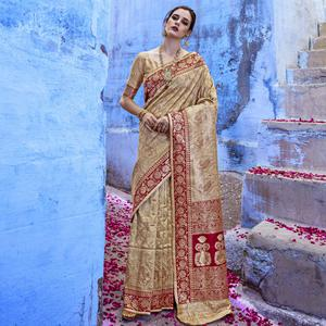 Entrancing Golden-Red Colored Festive Wear Woven Silk Saree