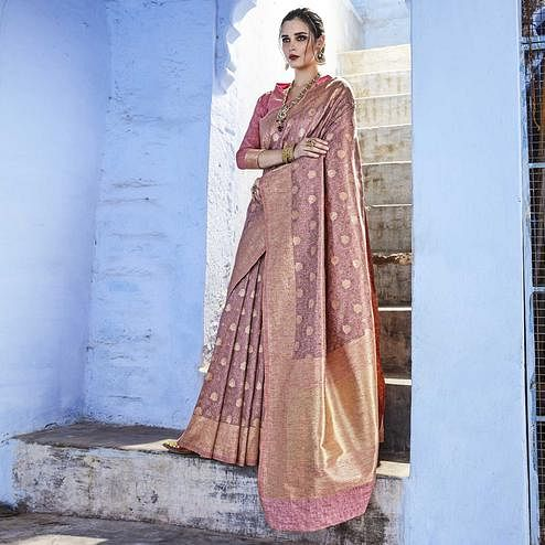 Imposing Pastel Purple Colored Festive Wear Woven Silk Saree
