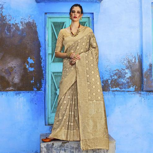 Blissful Beige Colored Festive Wear Woven Silk Saree