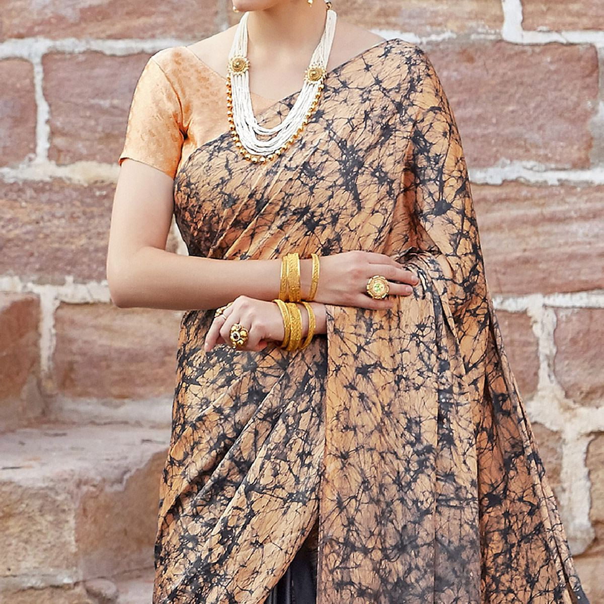 Opulent Light Orange-Gray Colored Partywear Printed Nylon Silk Saree