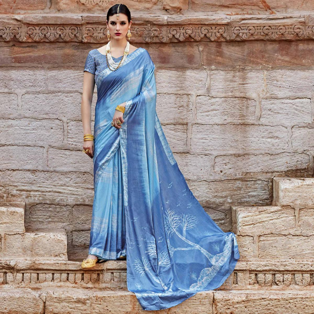 Flattering Light Blue Colored Partywear Printed Nylon Silk Saree