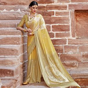 Breathtaking Yellow Colored Partywear Printed Nylon Silk Saree