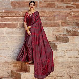 Gleaming Wine Colored Partywear Printed Nylon Silk Saree