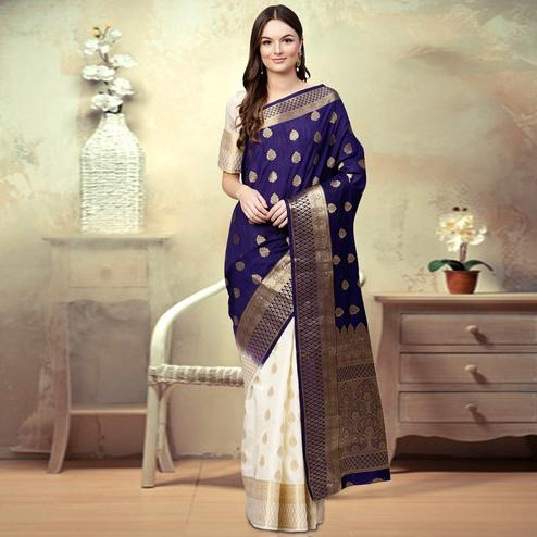 Delightful Navy Blue - White Colored Festive Wear Woven Silk Saree