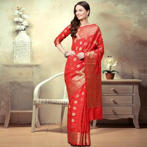 Stunning Deep Red Colored Festive Wear Woven Silk Saree