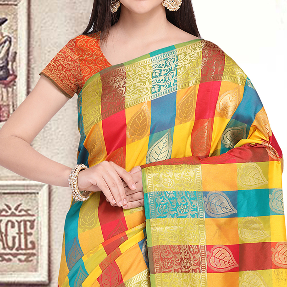 Elegant Multi-Orange Colored Festive Wear Woven Silk Saree