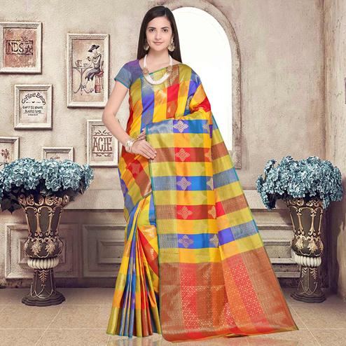 Adorable Multi-Blue Colored Festive Wear Woven Silk Saree