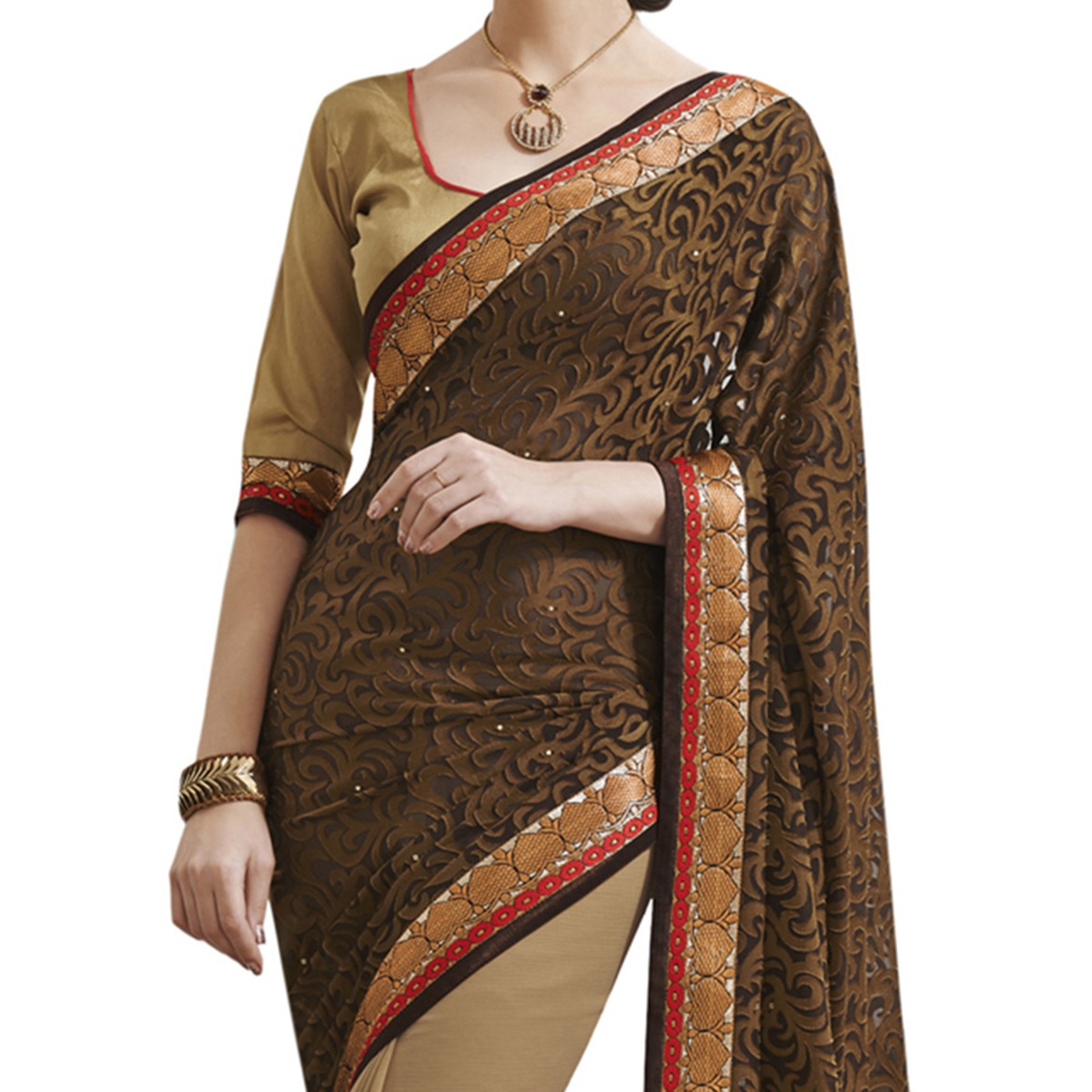 Brown - Beige Half & Half Saree