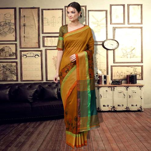 Ethnic Yellow Colored Casual Printed Art Silk Saree