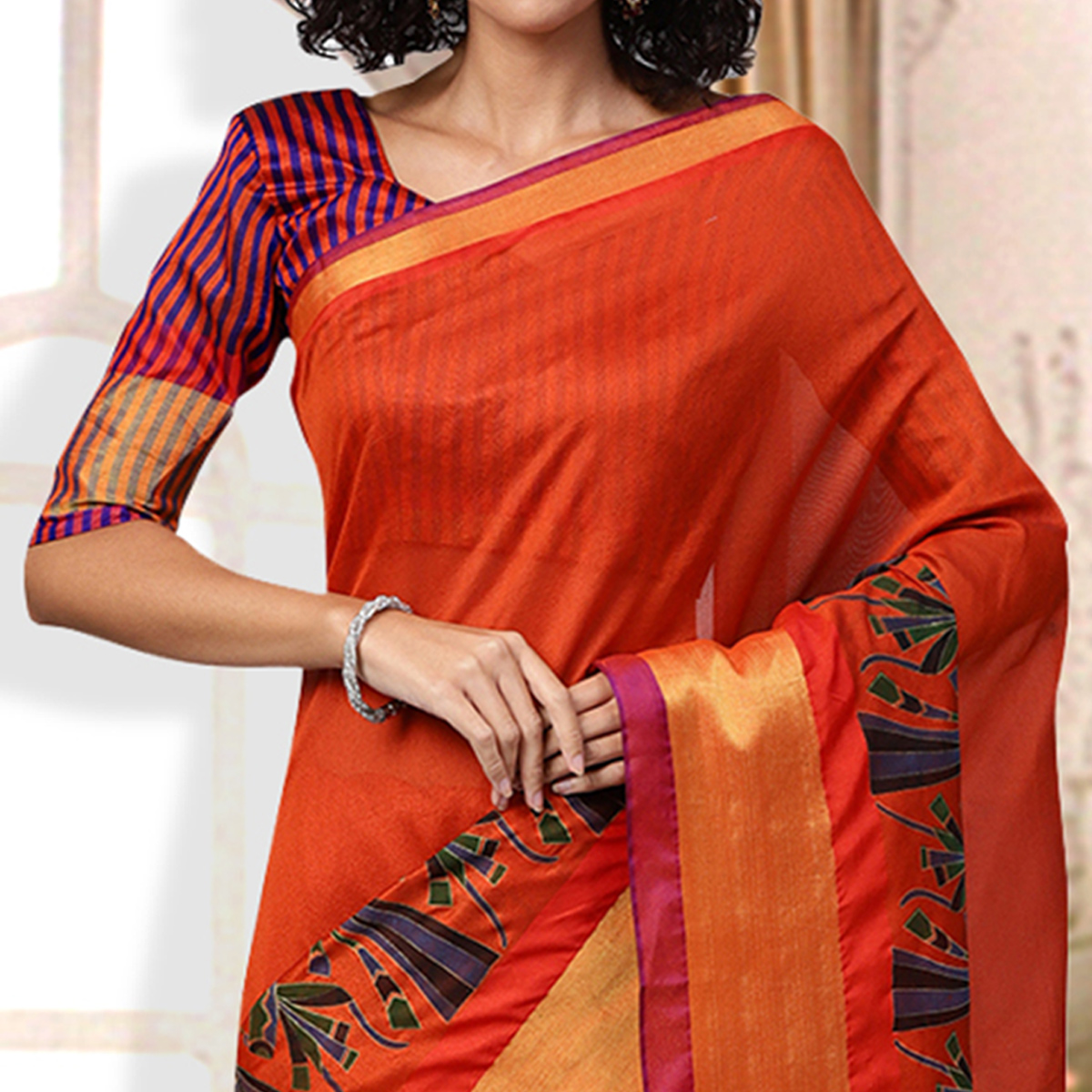 Starring Orange Colored Casual Printed Art Silk Saree