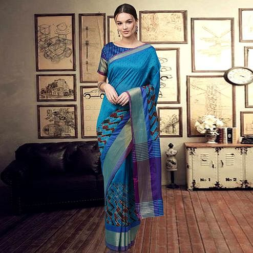 Attractive Blue Colored Casual Printed Art Silk Saree