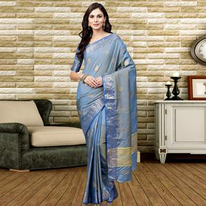 Jazzy Light Blue Colored Festive Wear Silk Saree