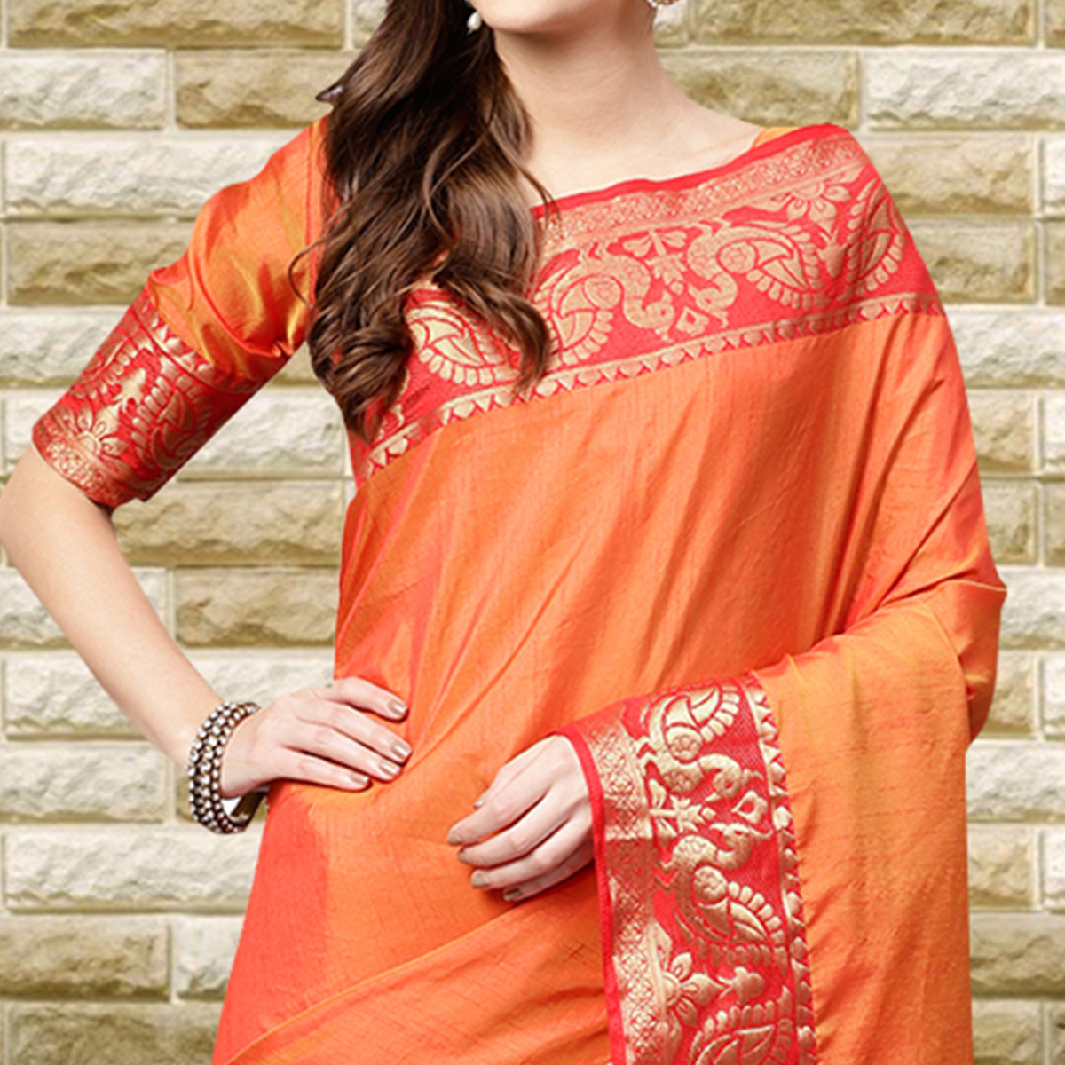 Appealing Orange Colored Festive Wear Silk Saree