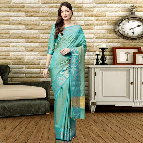 Groovy Sky Blue Colored Festive Wear Silk Saree