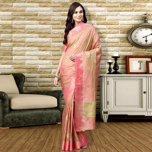 Prominent Peach Colored Festive Wear Silk Saree
