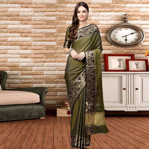 Capricious Mehndi Green Colored Festive Wear Silk Saree