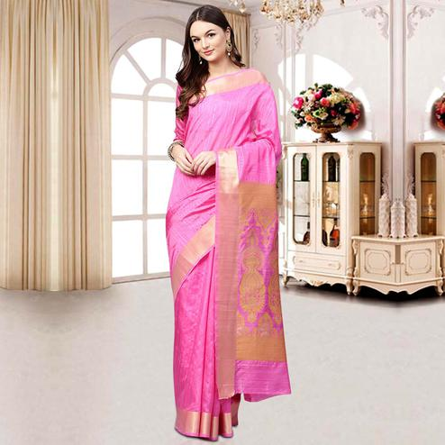 Intricate Pink Colored Festive Wear Woven Silk Blend Saree