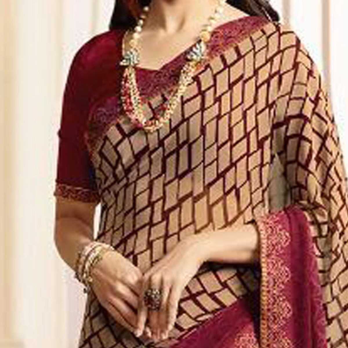 Classy Maroon Casual Printed Georgette Saree