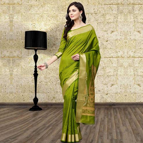 Desirable Green Colored Festive Wear Woven Silk Blend Saree