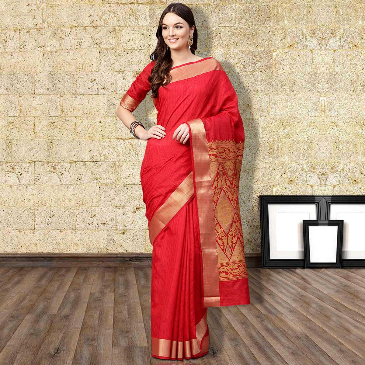 Pleasant Red Colored Festive Wear Woven Silk Blend Saree