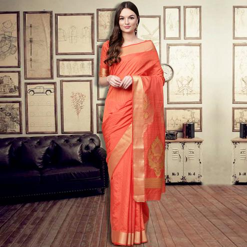 Unique Dark Peach Colored Festive Wear Woven Silk Blend Saree