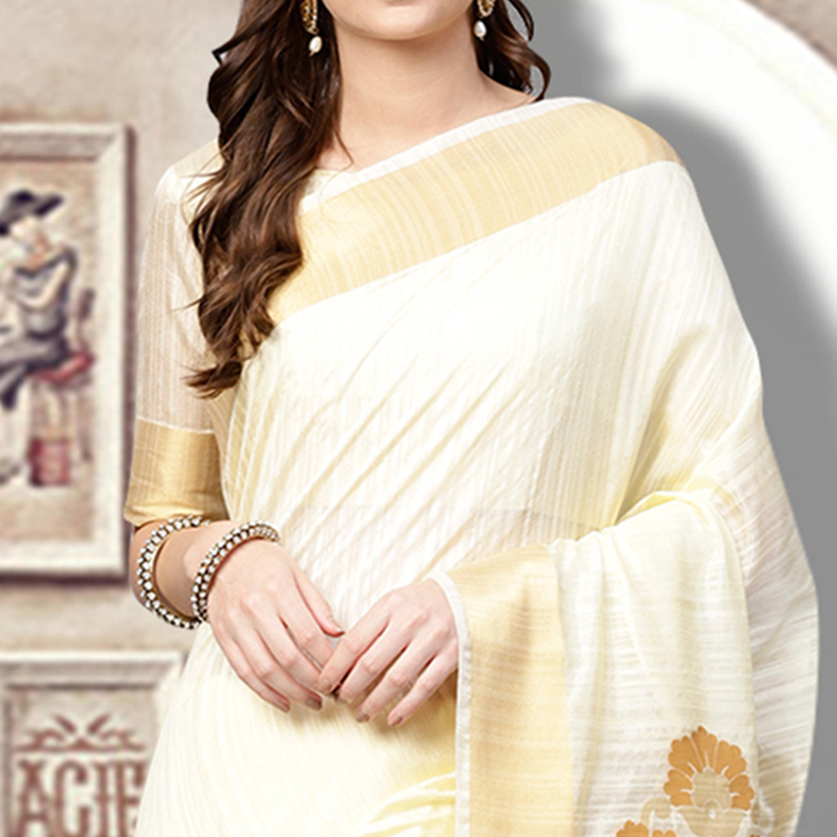 Refreshing Off White Colored Festive Wear Woven Silk Blend Saree