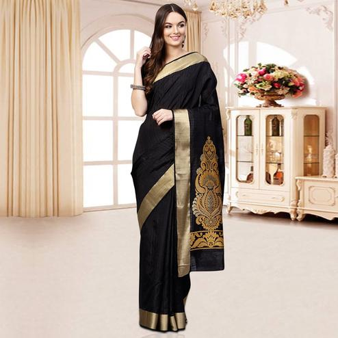 Elegant Black Colored Festive Wear Woven Silk Blend Saree
