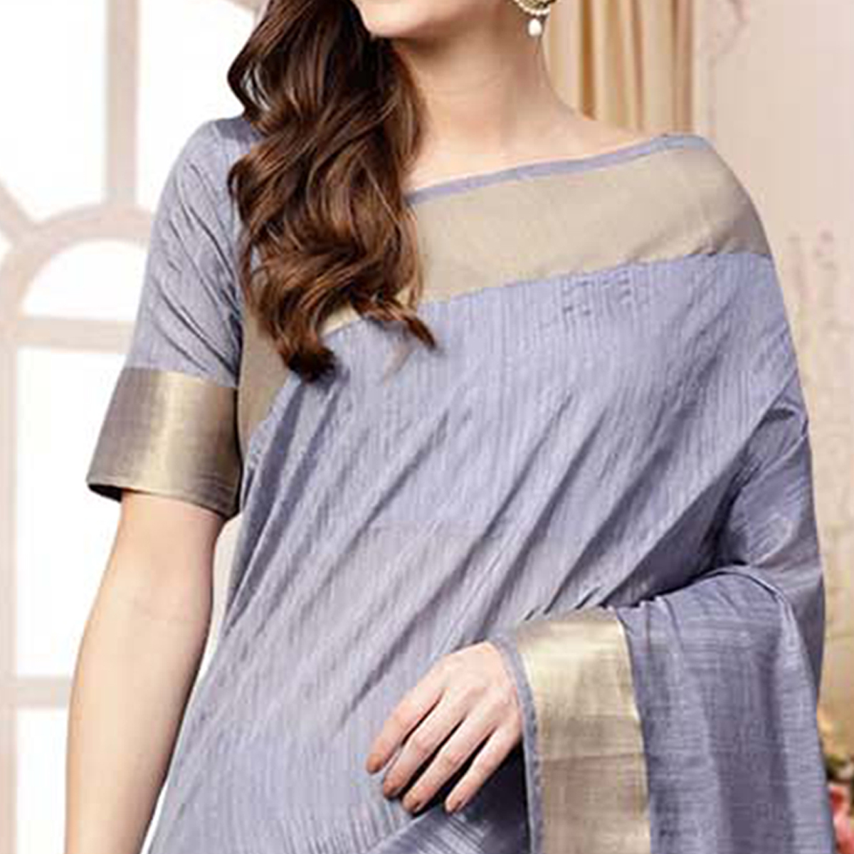 Alluring Grey Colored Festive Wear Woven Silk Blend Saree