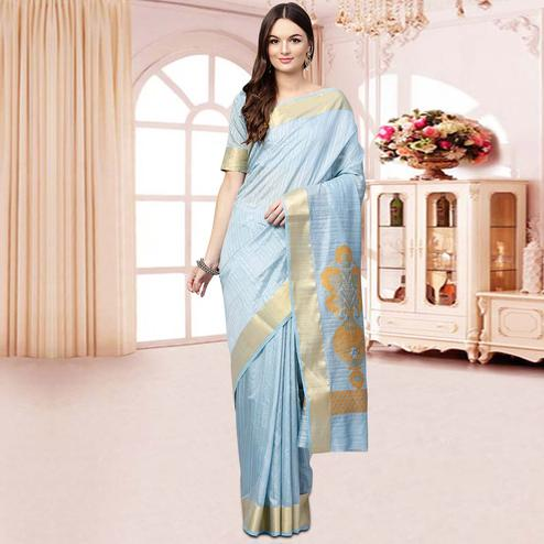 Radiant Light Blue Colored Festive Wear Woven Silk Blend Saree