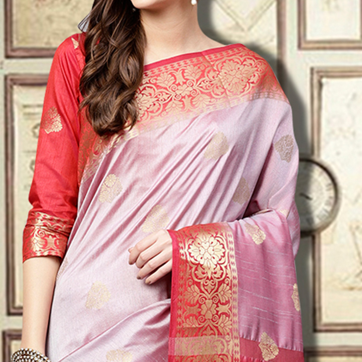 Eye-Catching Lavender Colored Festive Wear Woven Silk Saree