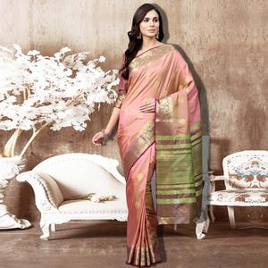 Eye-Catching Peach Colored Festive Wear Woven Silk Saree