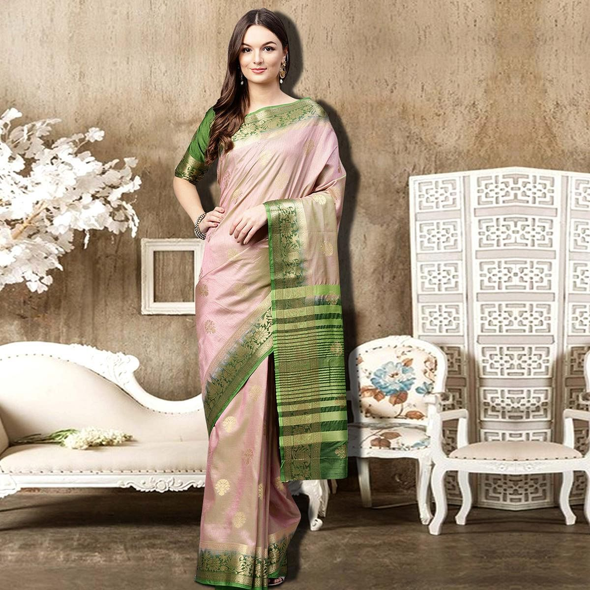 Gleaming Light Pink Colored Festive Wear Woven Silk Saree