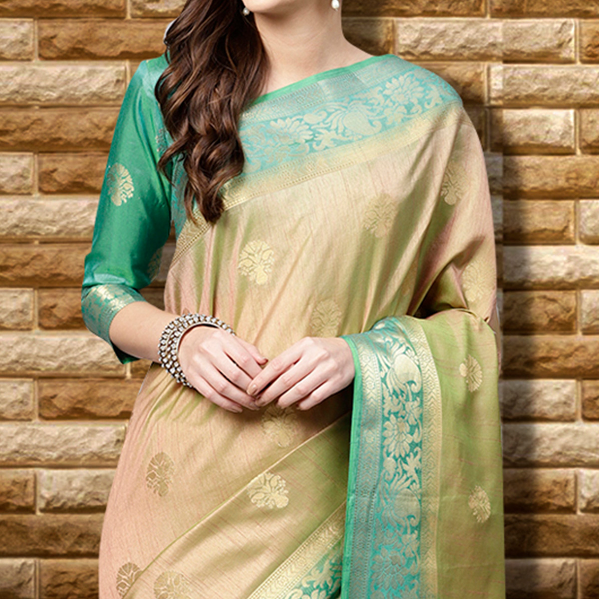 Blooming  Beige Colored Festive Wear Woven Silk Saree