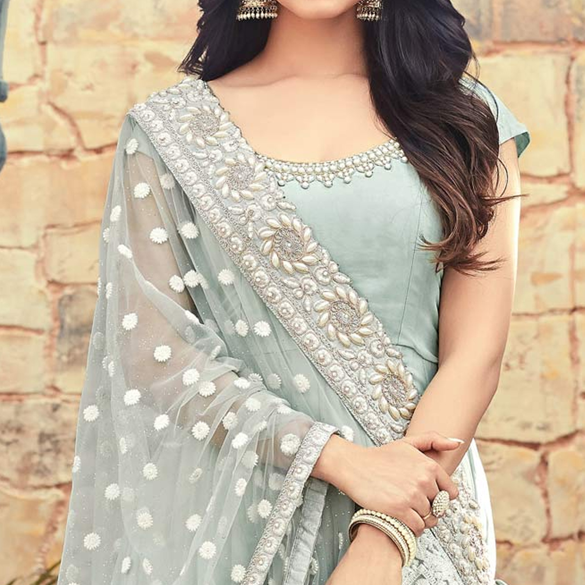 Impressive Gray Colored Partywear Embroidered Georgette Anarkali Suit