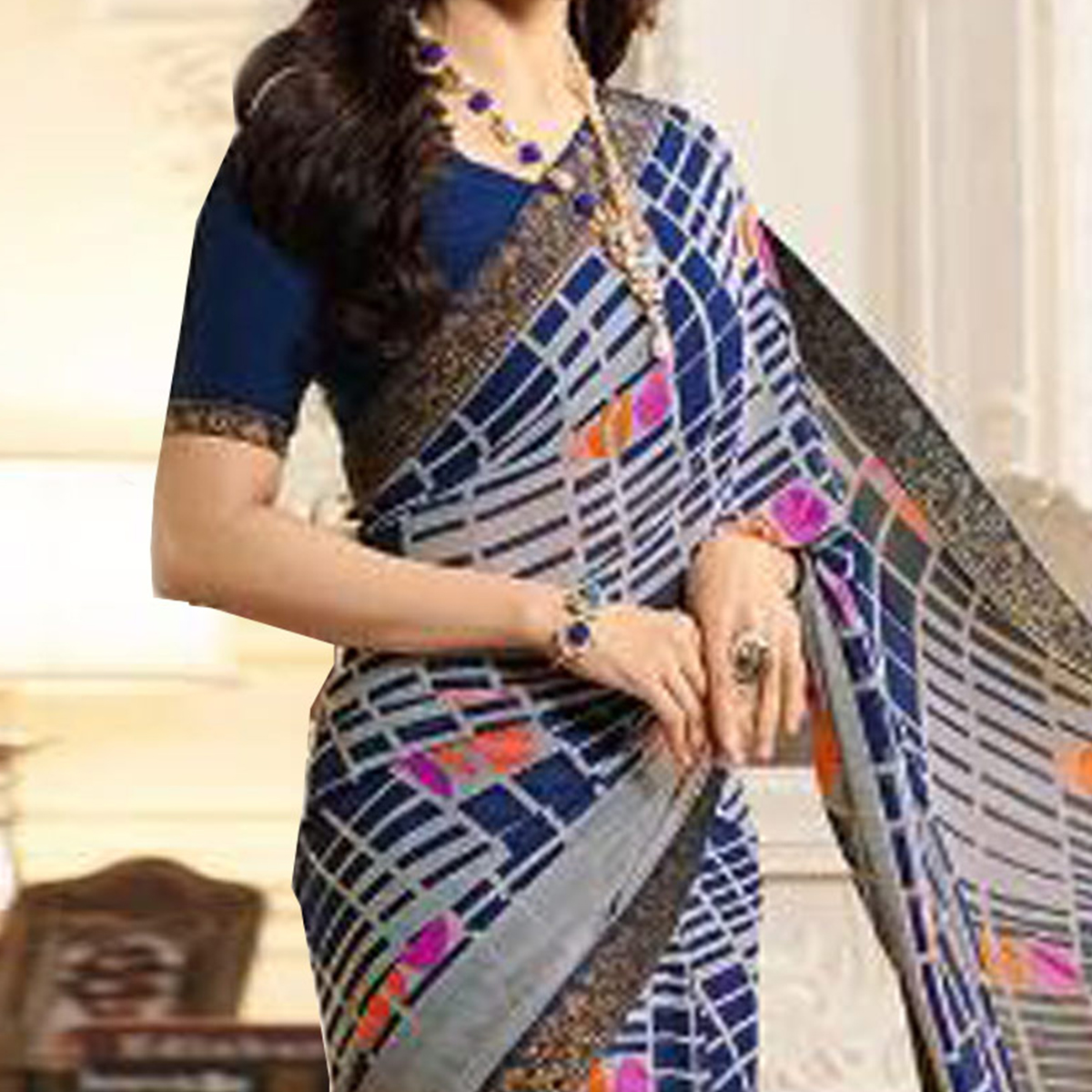 Adorable Blue Casual Printed Georgette Saree