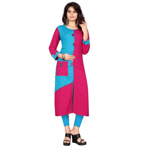 Beautiful Blue - Pink Colored Casual Wear Rayon Kurti