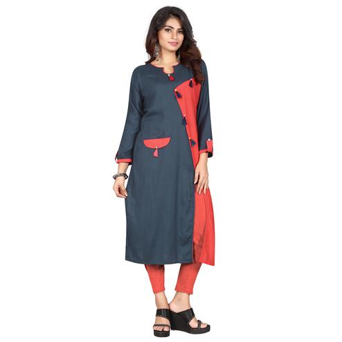Alluring Grey Colored Casual Wear Rayon Kurti