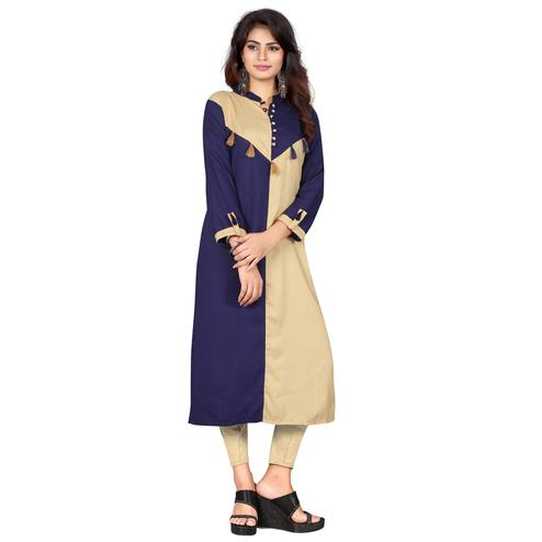 Radiant Navy Blue - Beige Colored Casual Wear Rayon Kurti