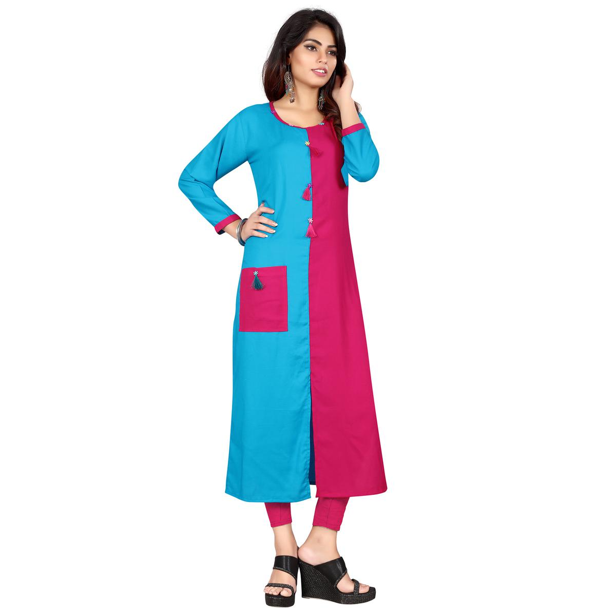Opulent Pink - Blue Colored Casual Wear Rayon Kurti