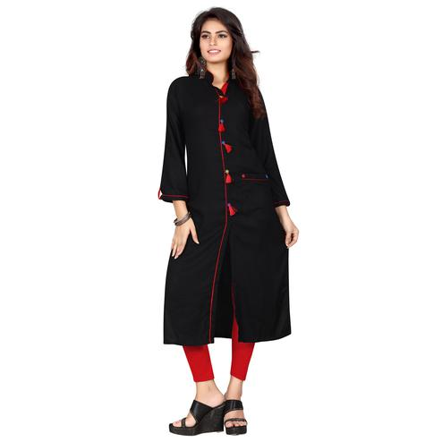 Flattering Black Colored Casual Wear Rayon Kurti