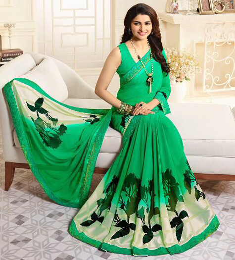 Elegant Green Casual Printed Georgette Saree