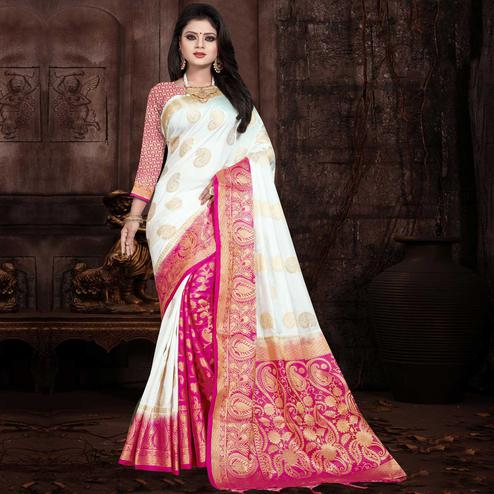 Elegant White Colored Festive Wear Woven Silk Saree