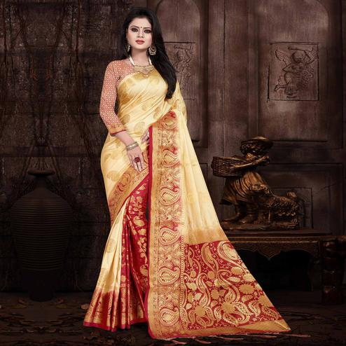 Appealing Cream Colored Festive Wear Woven Silk Saree