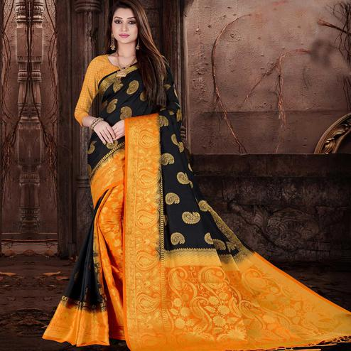Impressive Black Colored Festive Wear Woven Silk Saree